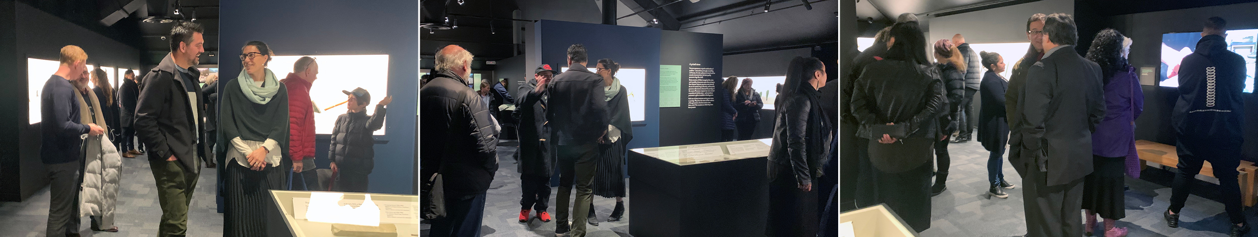 Image: Guests at the Opening event enjoy a first public viewing of the exhibition.