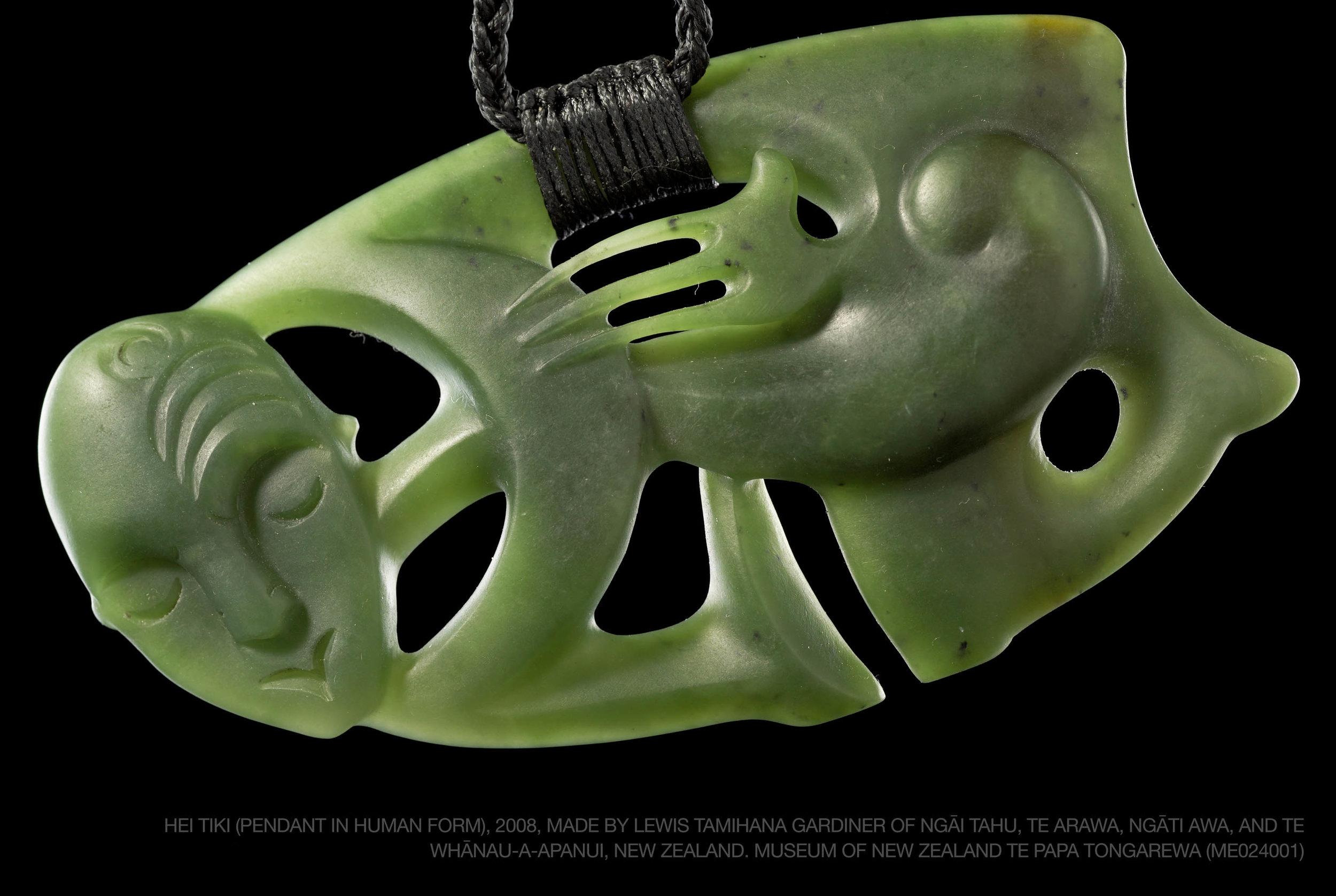 Hei tiki (pendant in human form), 2008, made by Lewis Tamihana Gardiner of Ngāi Tahu....jpg