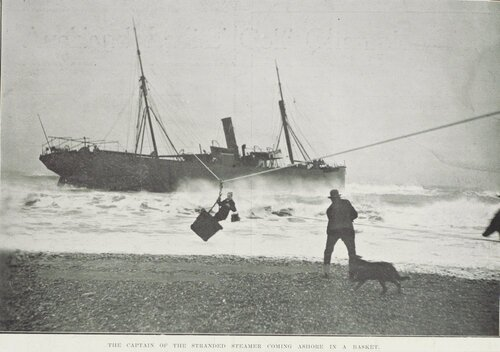 The Captain of a Stranded Steamer coming ashore..  ' Sir George Grey Special Collections, Auckland Libraries, NZG-19100713-28-1