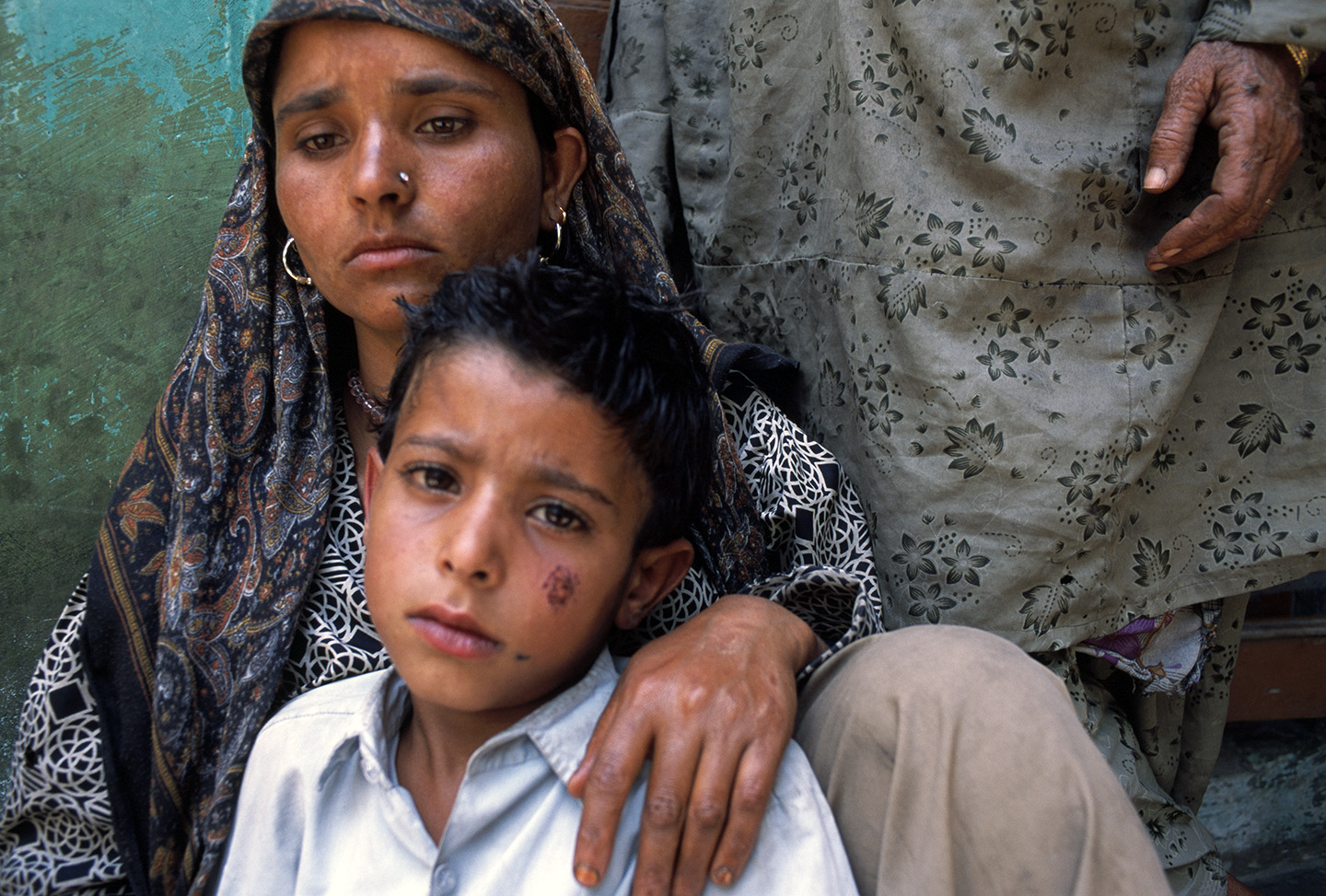 A young widow with her son, Kashmir.
