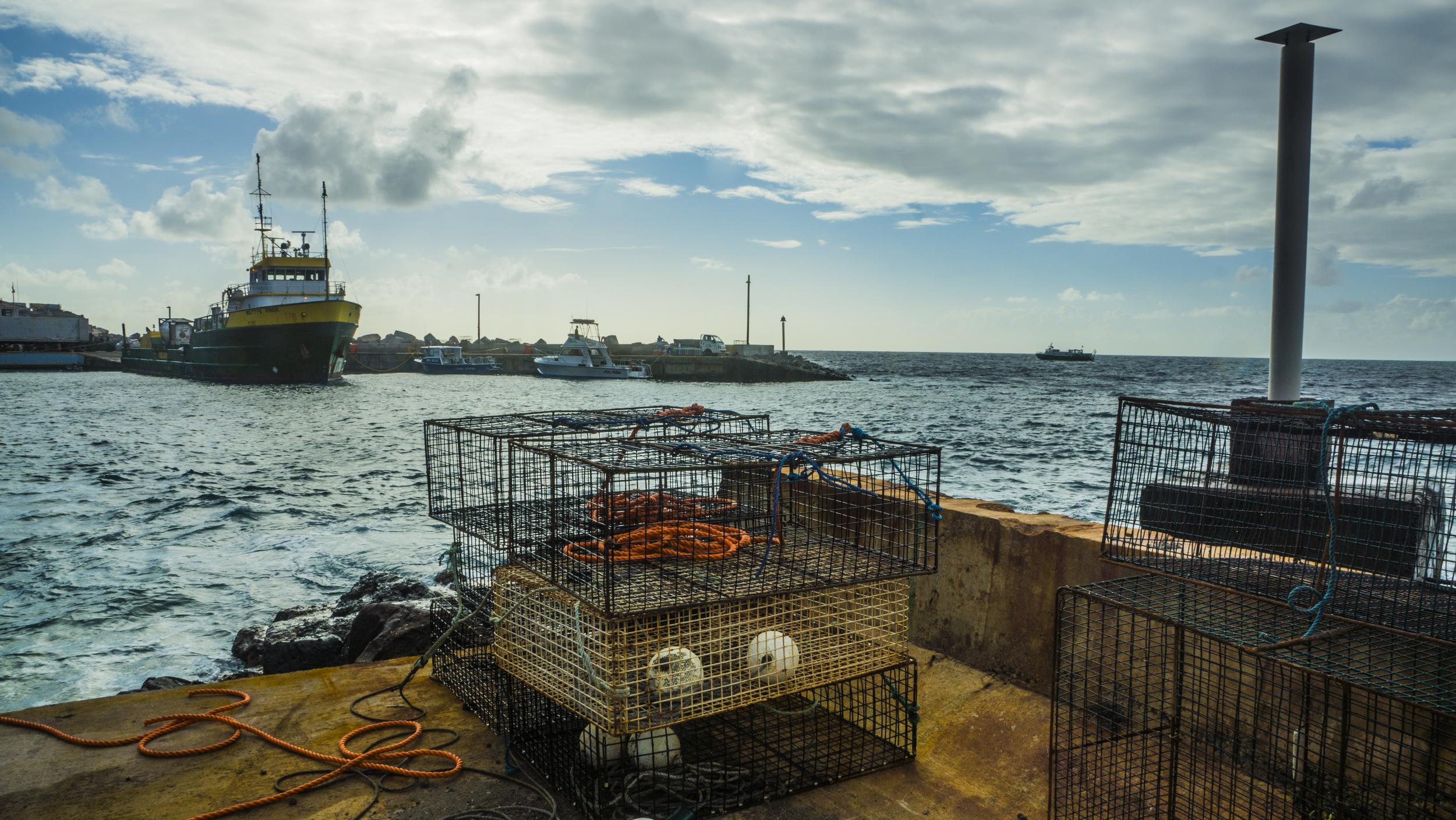 Fort Bay Harbor, Saba's only port.