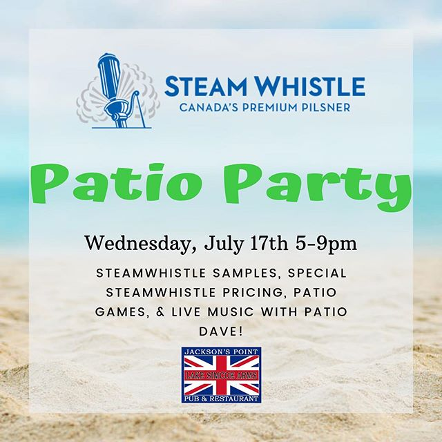 This Wednesday! (Weather permitting) #thearms #lakesimcoearms #britishpub #patio #party #steamwhistle #beer #jacksonspoint #sutton #goodfood #patiodave #entertainment #livemusic #summer #pub #lakesimcoearmspub
