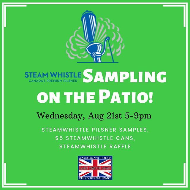 On Wednesday our rep Steph will be hanging out on the patio handing out @steamwhistlebrewing samples and we will be offering $5.00 Steamwhistle Pilsner tall cans from 5-9pm. Come check it out. #thearms #steamwhistle #lakesimcoearms #lakesimcoe #britishpub #beer #patio #samples #summer #jacksonspoint