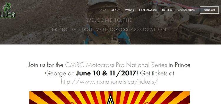 Prince George Motocross Association    Website Design - June 2017