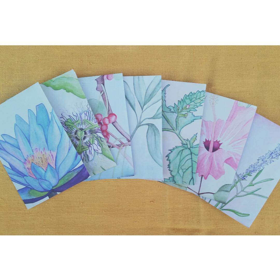 Printed edition hand drawn & painted greeting cards with envelopes by yours truly. Collect all seven or purchase individually for the holiday season.
