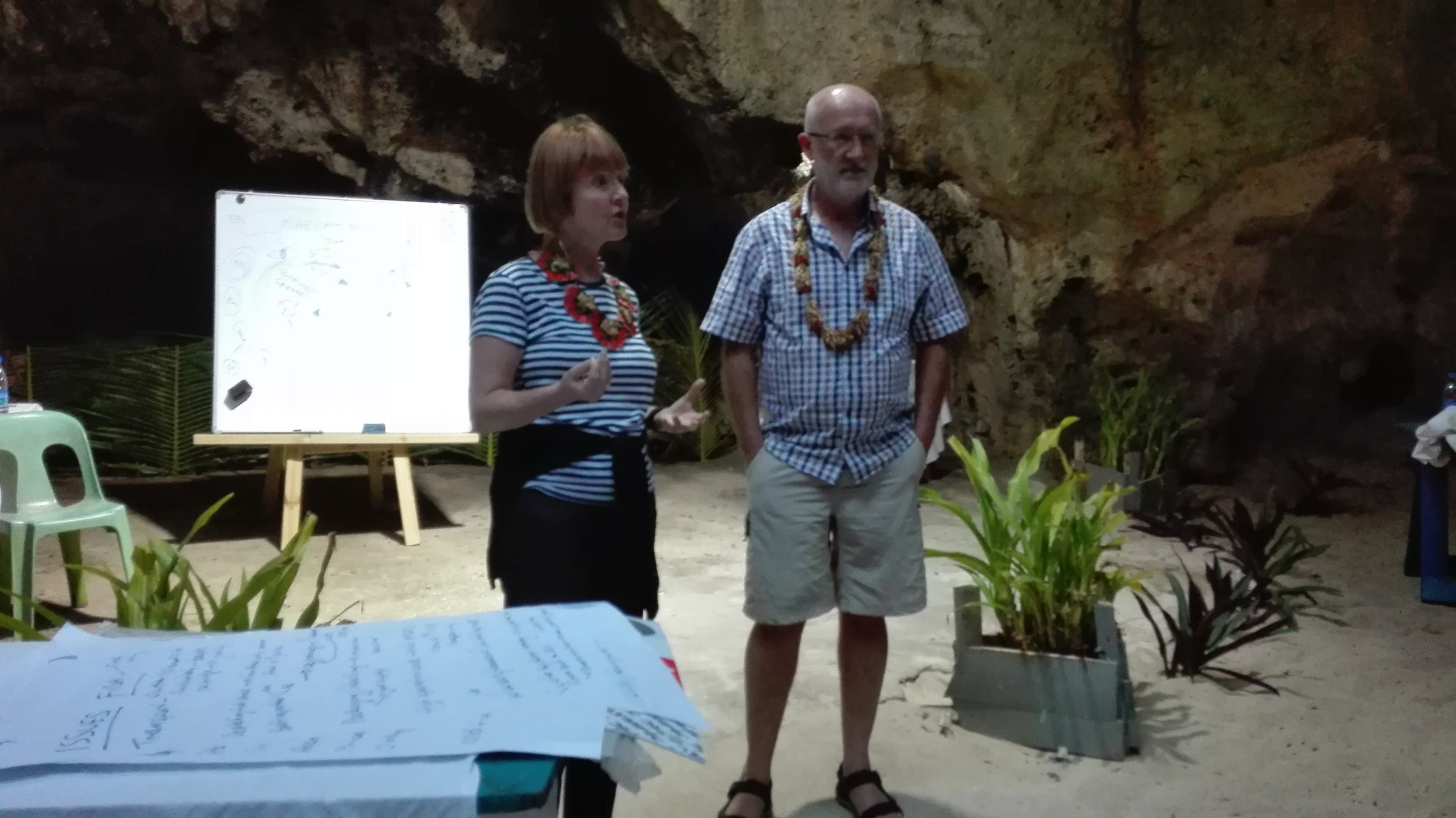 Mihaela Balan and Rob Duthie workshop in Tongan cave.