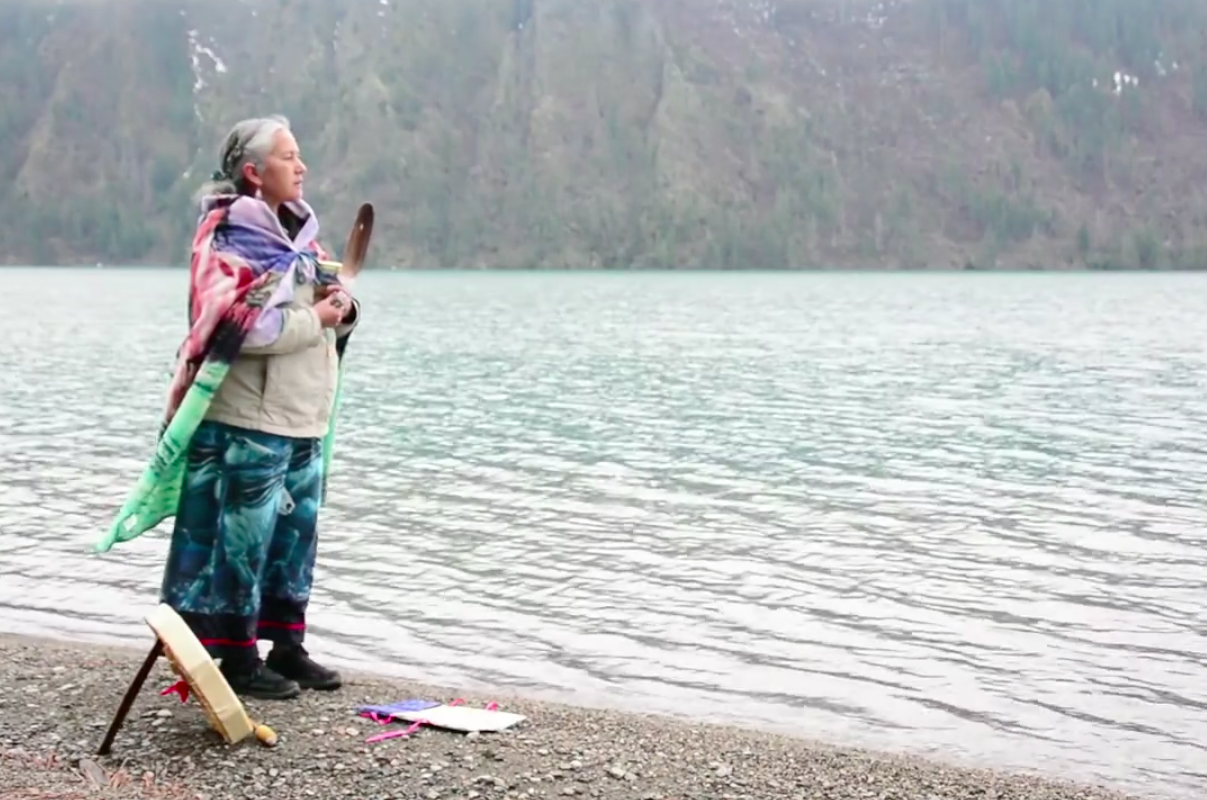 Chief Ida Mary Peter, Tsal'alh, St'at'ic Nation.Still from 'Feather from Fish Lake'. Please check out the link in the attached article.