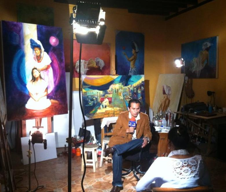 Interview by TV Azteca in my studio in Puebla