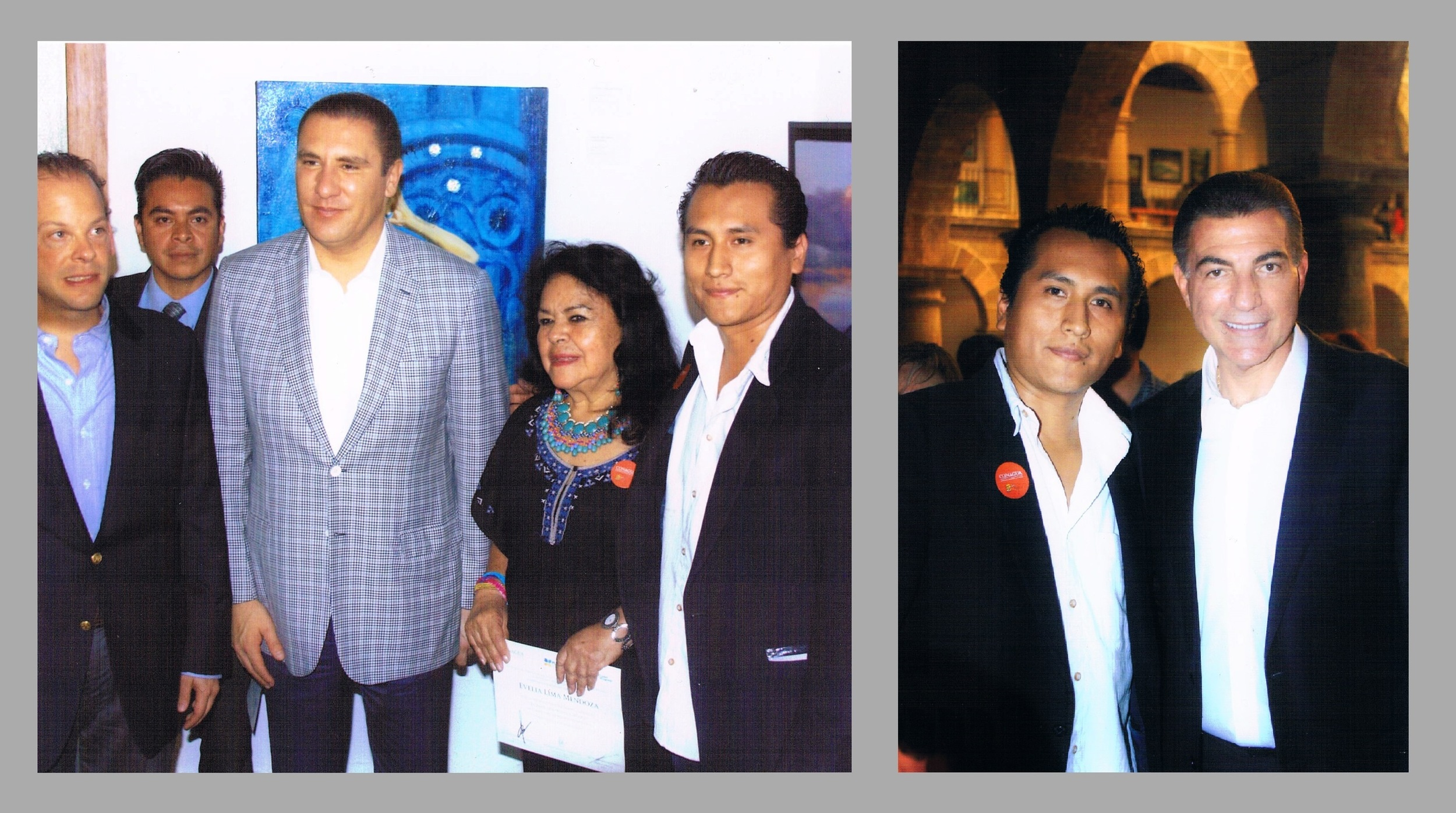 At the opening of the exhibition with Puebla's governor Rafael Moreno Valle and municipal mayor of Puebla Tony Gali.