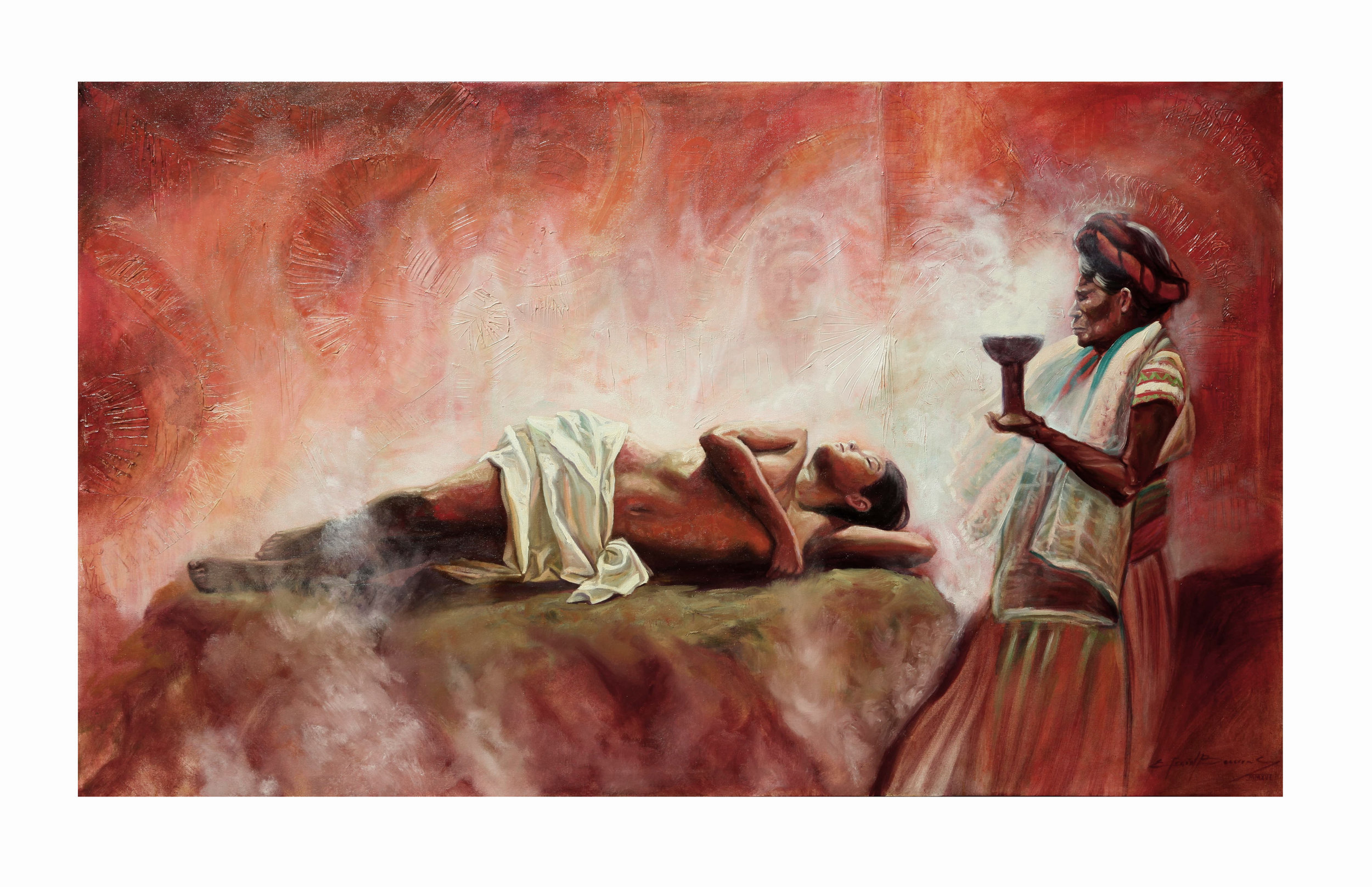 LA CURANDERA  Mixed media / canvas  36x60 in. (90x152 cm) 2015