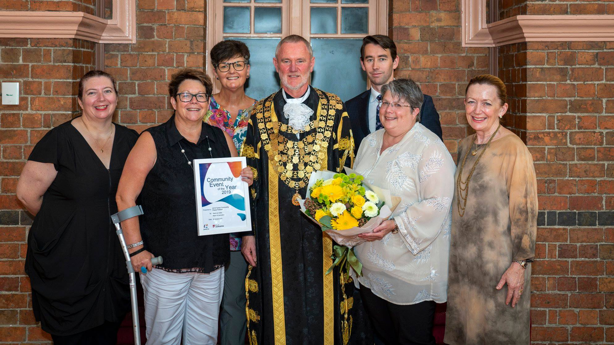 2018 Peace Festival was awarded Community Event of the Year by City of Launceston Mayor, Albert van Zetten. Thanks to all Trustees and the dozens of community groups and individuals who support the Festival. The Trust, under the stewardship of Trustees (Right to left) Tamara Foster, Donna Bain (Chair), Mark Baker, Josephine Archer, Janine Healey (Trust Treasurer). This image also includes Festival co-ordinator Sonja Hindrum and Launceston Mayor, Albert van Zetten. (Image by The Examiner Newspaper)
