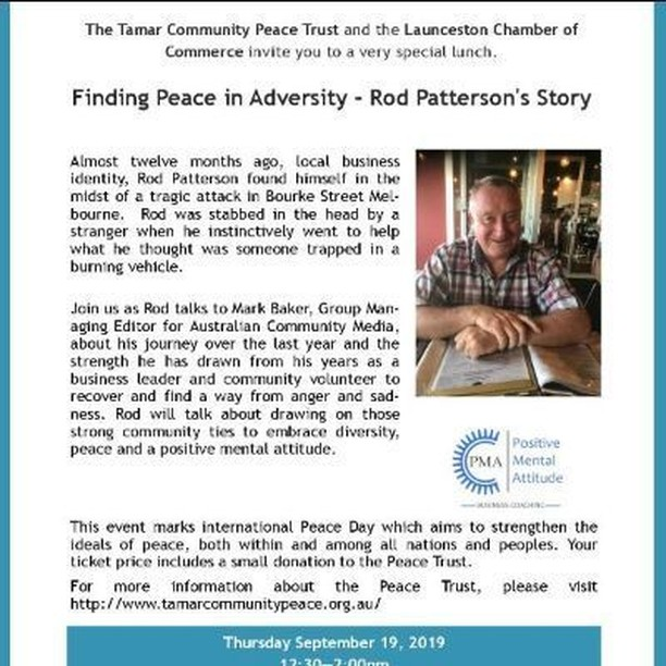 Finding Peace in Adversity - Rod Patterson's Story: A Lunch https://launcestontickets.com.au/event/10279