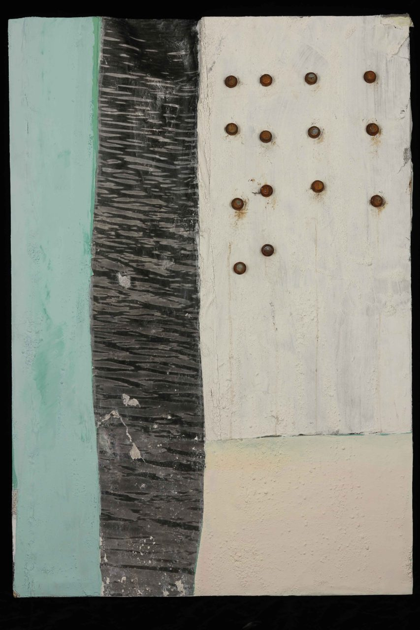 """Artist: Courtney Sennish  Title: Surface Study  Date made: 2015  Location Purchased: Direct from artist  Price: $300?  Year acquired: 2016  Dimensions: 28"""" x 30"""" x 3""""  Media:Plaster, steel, screws, digital transfer, and acrylic paint on shaped structure"""
