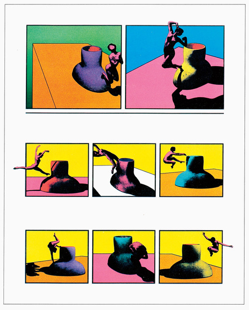 """Artist: Ken Price  Title: Acrobatic Figurine Cups (also called Figurine Cups V)  Date Created: 1970  Location Purchased: received from ___ Koon's estate  Price: NA  Year acquired: 2017  Dimensions:19.75""""x 16.25""""  Edition: 24 of 60  Media: 10-color lithograph on Special Arjomari paper  Provenance: Koon purchased from Gemini G.E.L.  Notes: the cup in the print is a 600 pound plaster replica of a ceramic cup Price design. Price photographed the model with the sculpture. The figure is Toni Basil. Other prints in the edition are owned by NY MoMA( Edition 28/60, Gift of Gemini G.E.L.), Smithsonian American Art Museum (transfer from NEA),the National Gallery of Art in D.C. (Gift of Gemini G.E.L.), the de Young Museum, the Norton Simon Museum in Passadena...  References:http://the-drawing-center.tumblr.com/post/54022042188/ferus-tamarind-and-gemini-three-west-coast-art"""