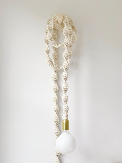 Artist: Windy Chien  Title: Helix Light  Date made: 2017  Location Purchased: From studio when I rented space from her  Price: ?  Year acquired: 2017  Dimensions: 15' long  Media: natural white cotton rope