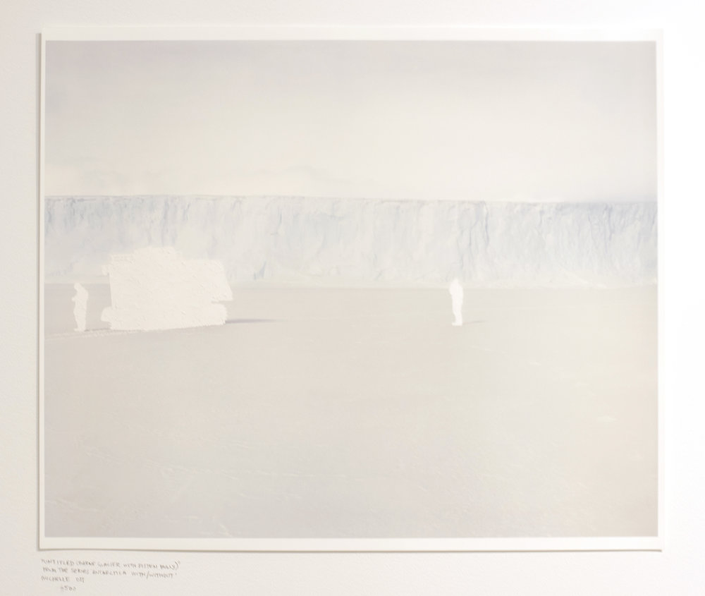Artist: Michelle Ott  Title: Untitled (Barne Glacier with Pisten Bully) from the series Antarctica With/Without  Date made: 2015  Location Purchased: Flat File Fundraiser  Price: $600  Year acquired: 2018  Dimensions: 20 in. x 24 in.  Media: Handcut Archival Pigment Print