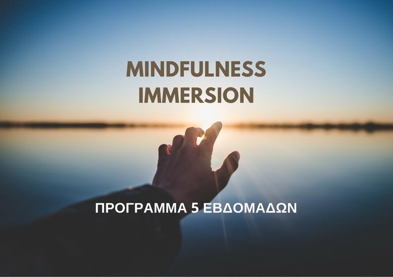Mindfulness Immersion - Εντατικό βιωματικό πρόγραμμα που περιλαμβάνει συστηματική εκπαίδευση και εξάσκηση σε τεχνικές mindfulness, ενώ σημαντικό μέρος της εμπειρίας αποτελεί η ομαδική διεργασία και η εξερεύνηση μέσω εργαλείων ψυχολογίας.Περιλαμβάνει:- 5 εβδομαδιαία μαθήματα διάρκειας 2 ωρών- Καθοδηγούμενη πρακτική τεχνικών mindfulness- Έντυπο υποστηρικτικό υλικό- Ηχογραφημένες ασκήσεις για πρακτική στο σπίτι