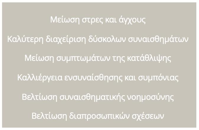 ΨΥΧΟΛΟΓΙΚΑ ΟΦΕΛΗ ΕΝΣΥΝΕΙΔΗΤΟΤΗΤΑ MINDFULNESS