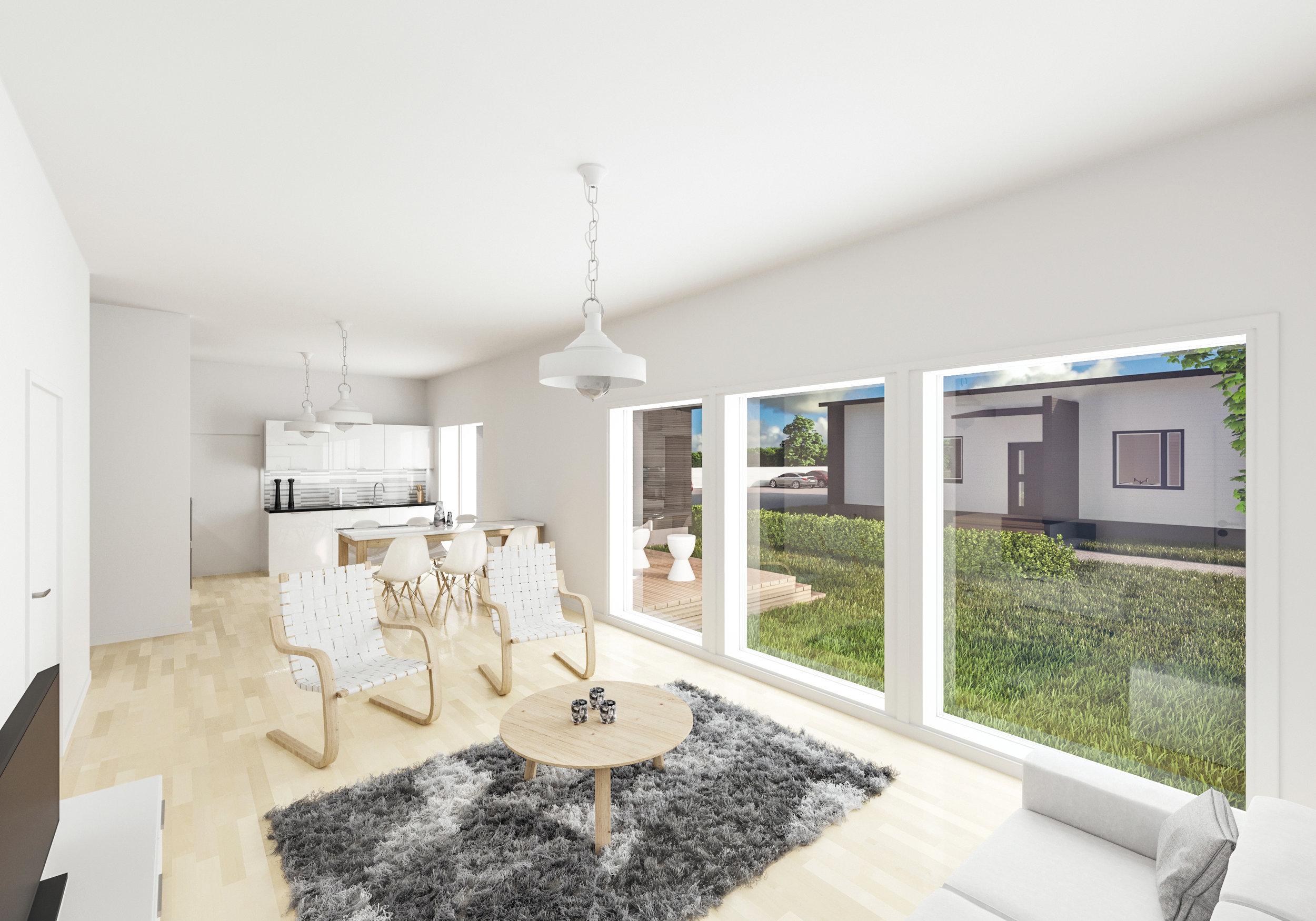 Olohuone ja keittiö 91,5 m2