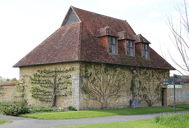Barrington-Court-espalier-walled-garden-tile-roof-somerset-architecture