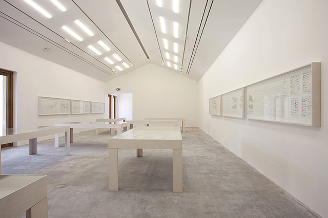 Installation view of the exhibition of Piet Oudolf's drawings in the new Bourgeois Gallery © Piet Oudolf, courtesy the artist and Hauser & Wirth. Photo: Jamie Woodley