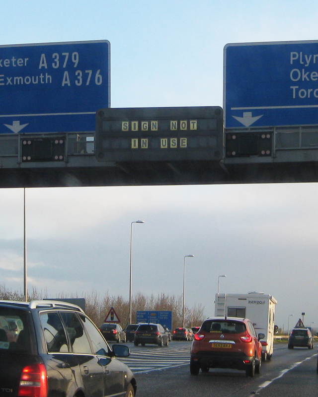 And finally a helpful sign on the M5 near Exeter. At least it clears up any ambiguity.
