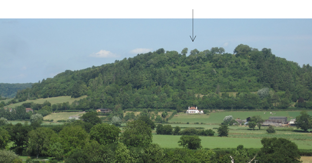 View from the south with the existing house indicated with an arrow