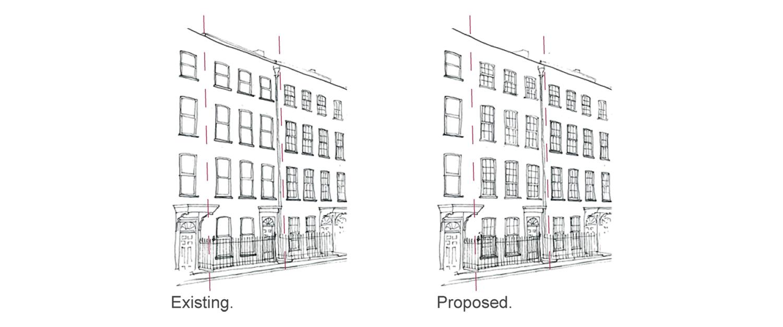 Prewett Bizley Architects - Lincolns Inn Town House -  Existing & Proposed - 1500.jpg