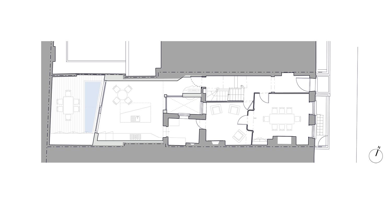 Prewett Bizley Architects - Lincolns Inn Town House -  GF Plan - 1500 .jpg
