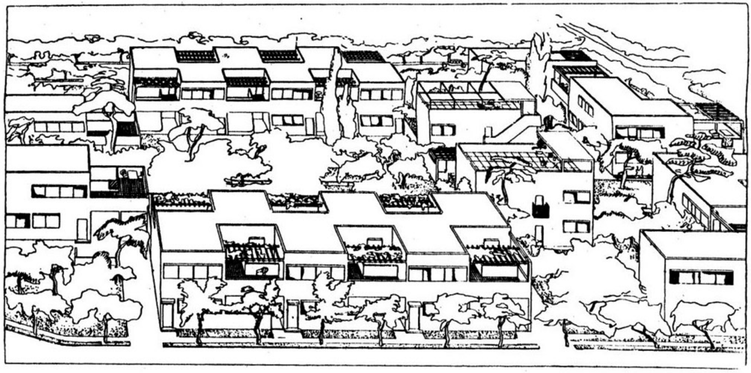 Sketch by Le Corbusier showing the houses set in a landscape of gardens and trees.