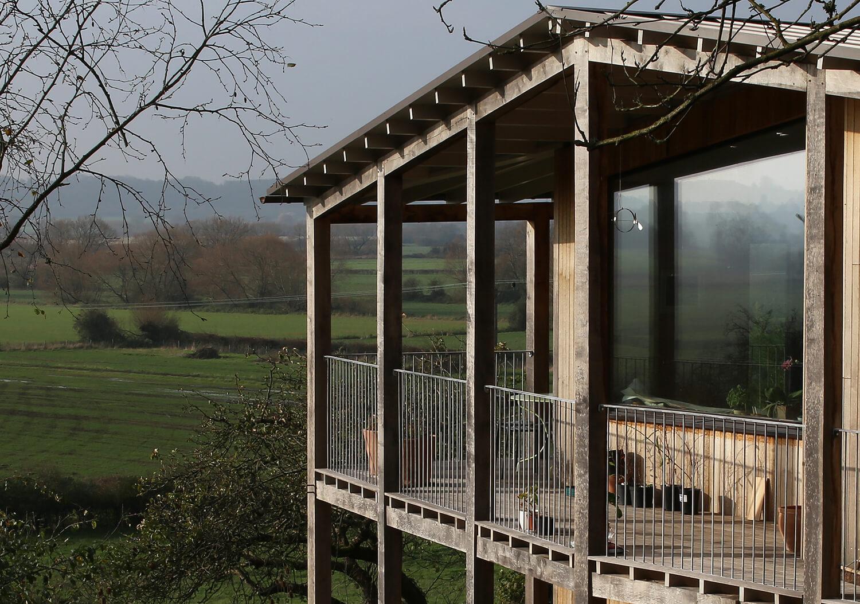 Dundon Passivhaus - overhanging roof and veranda provide solar shading to south-facing glazing