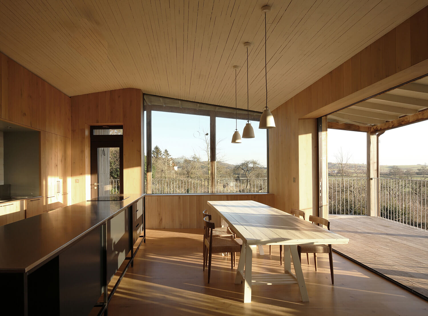 Dundon Passivhaus - large areas of south-facing glazing with solar shading