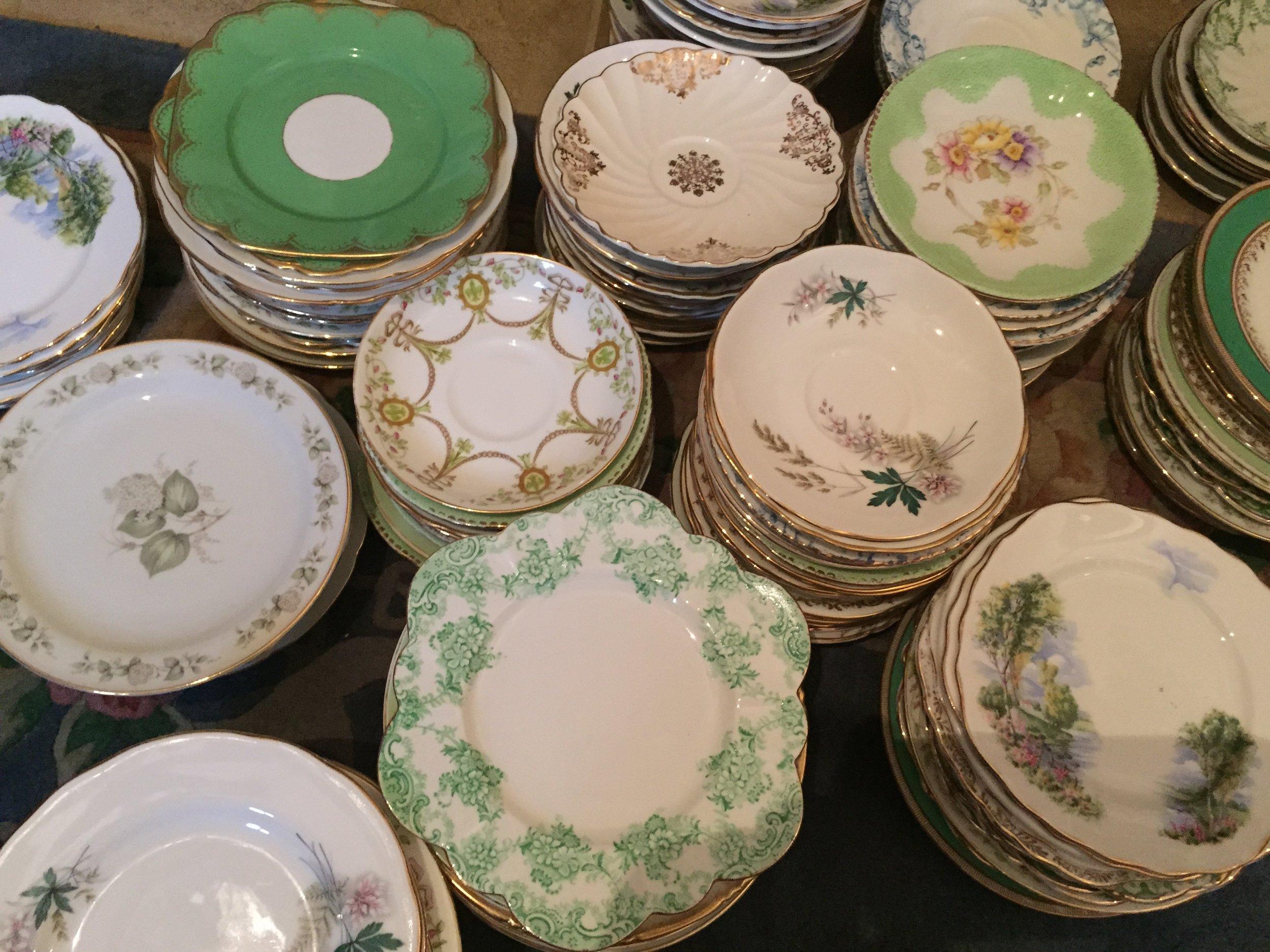 cake plates in greens.JPG