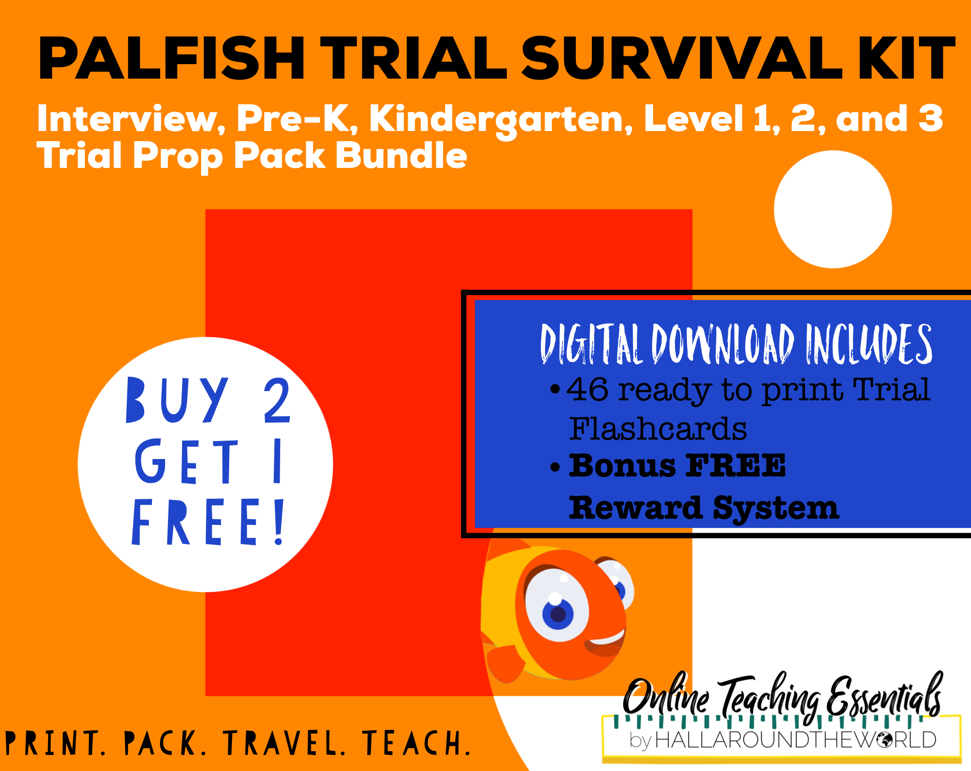 PALFISH TRIAL SURVIVAL KIT - The Trial Survival Kit contains everything PalFish Teachers need for their demo interview, Pre-K, Kindergarten, Level 1, 2, and 3 trial classes.It includes 46 ready to print vocabulary flashcards and a free