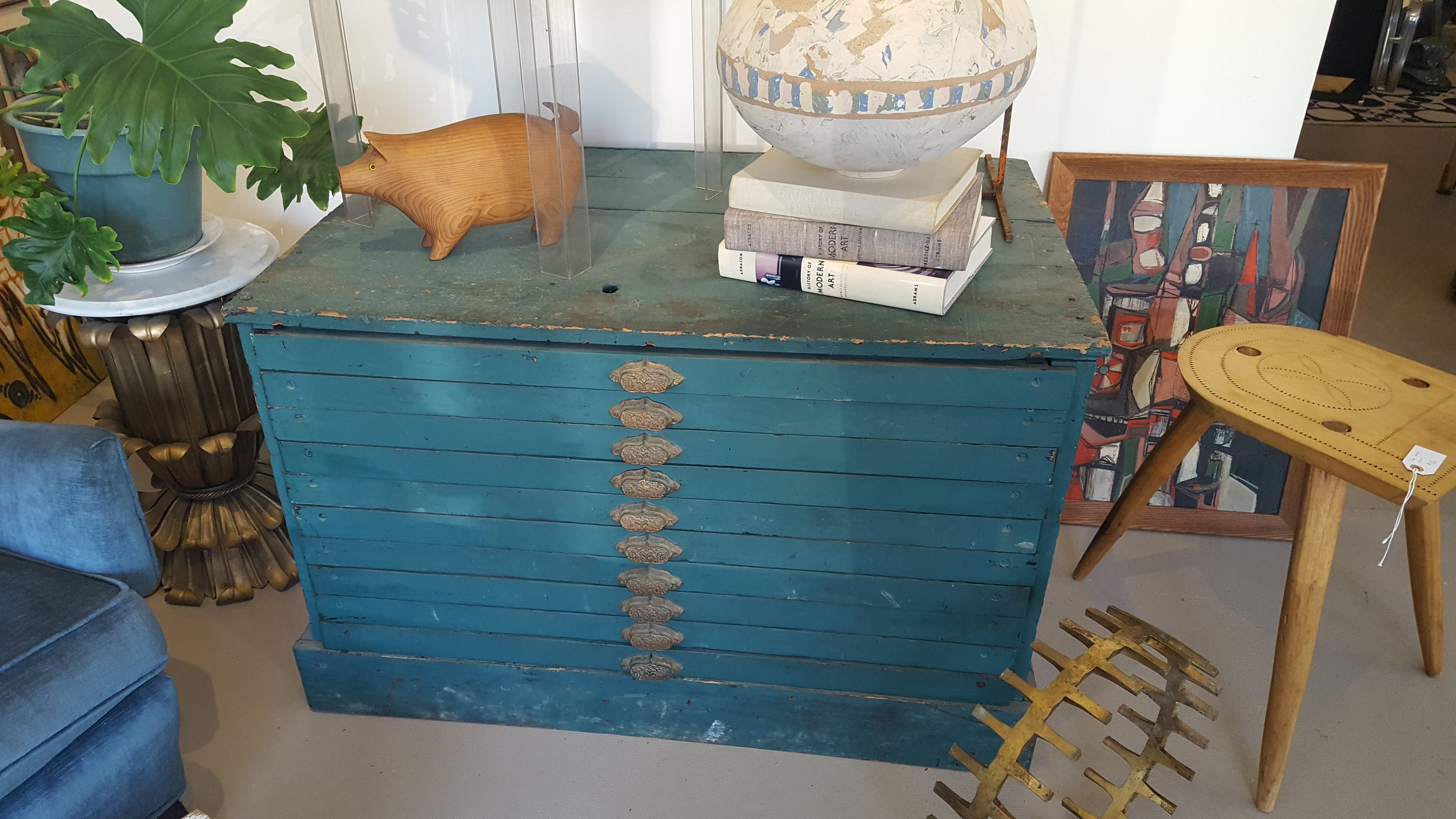 Antique Map or Document Case in Teal Paint