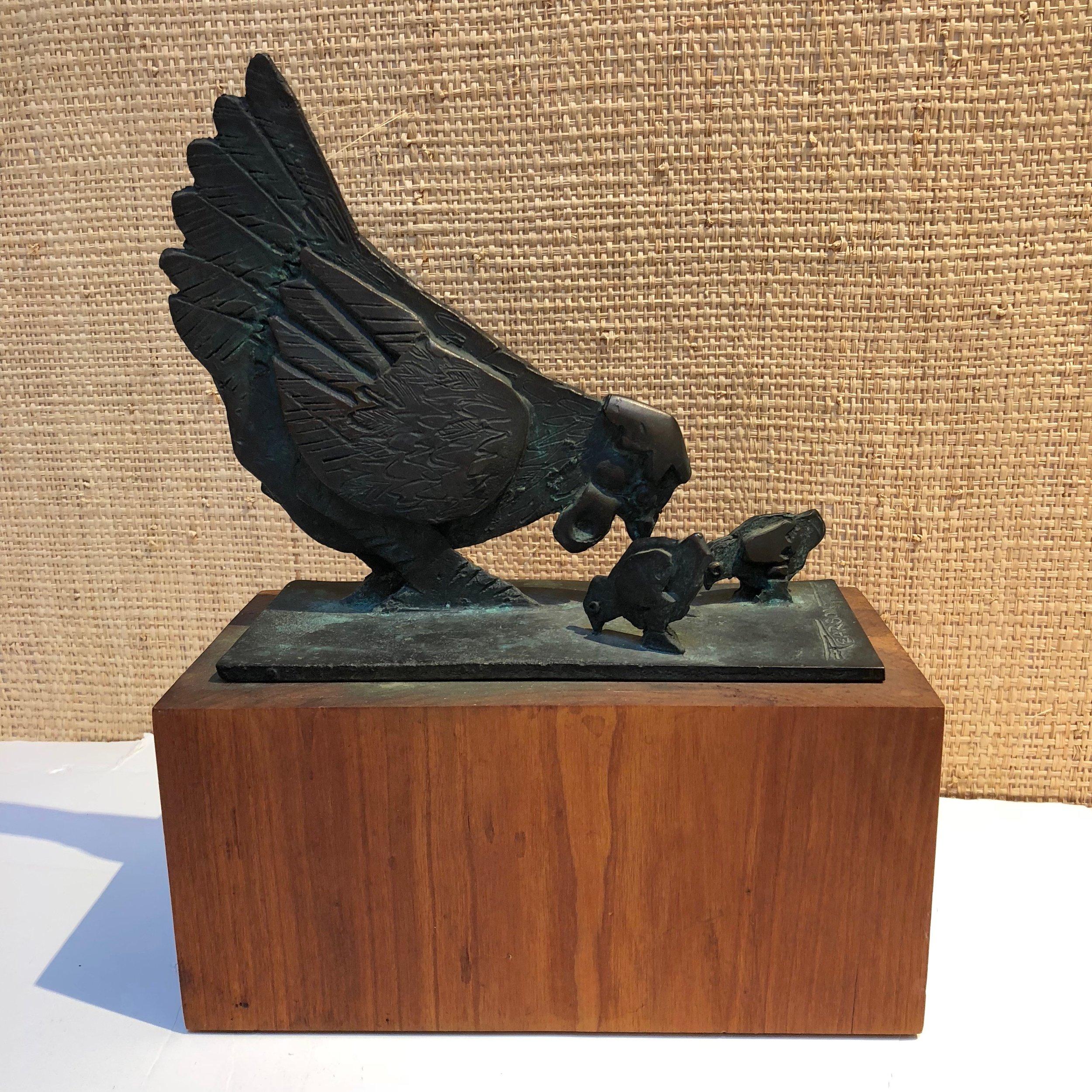 James Pearson Bronze Chicken Sculpture