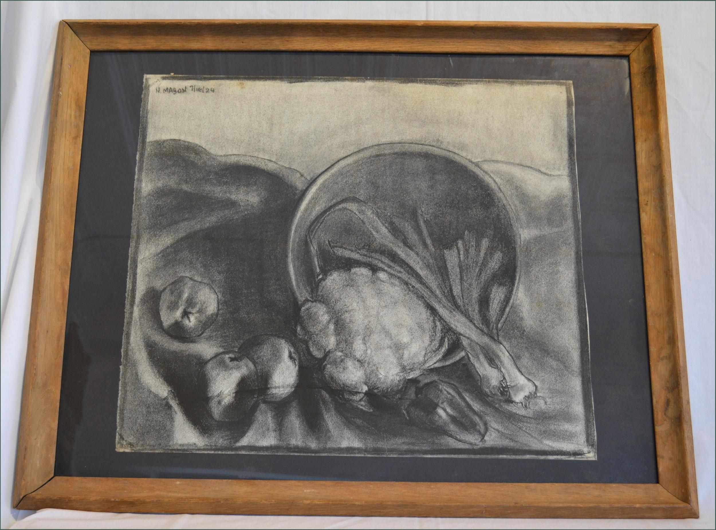1924 Charcoal Still Life by Nan Mason