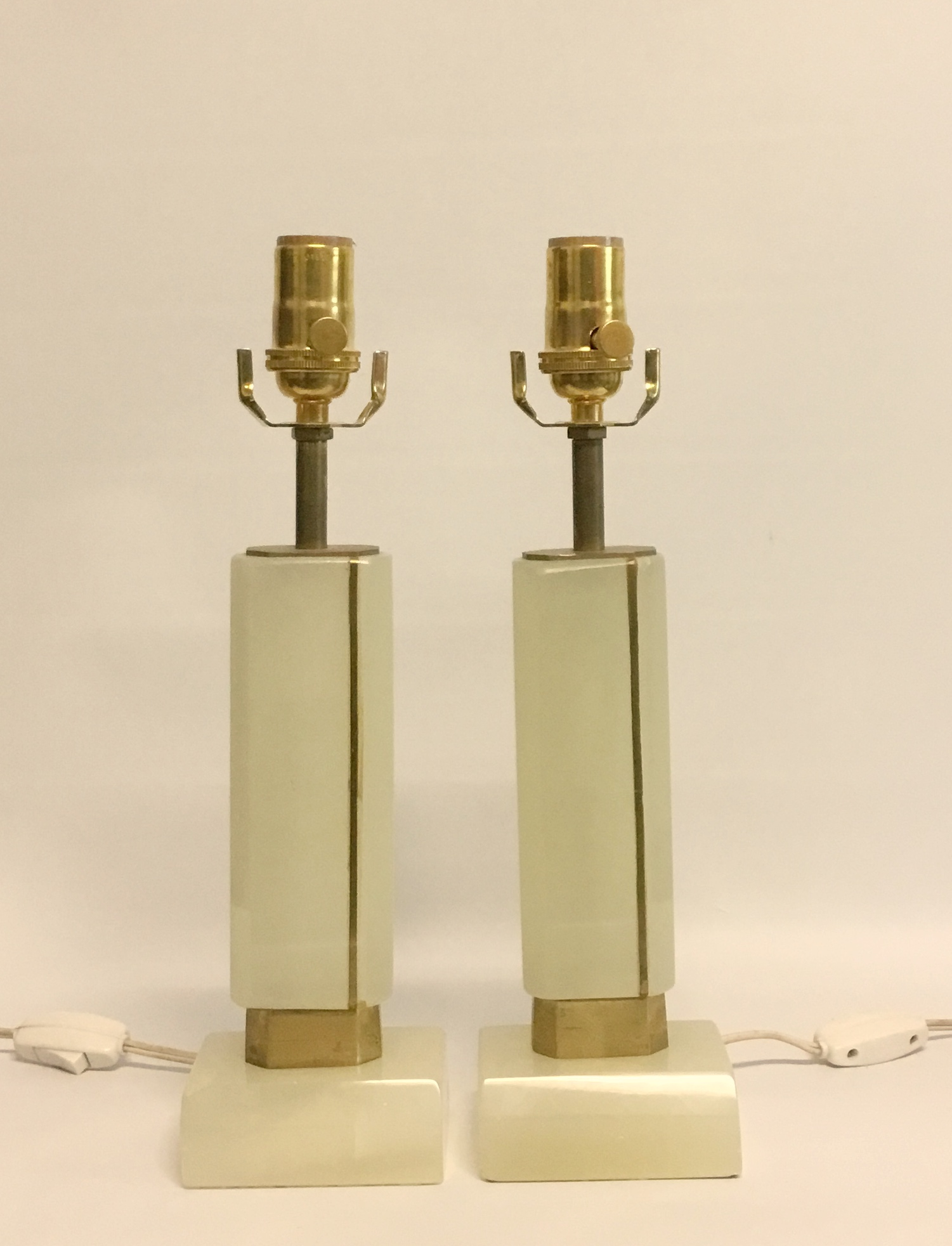 Pair antique onyx and brass boudoir lamps