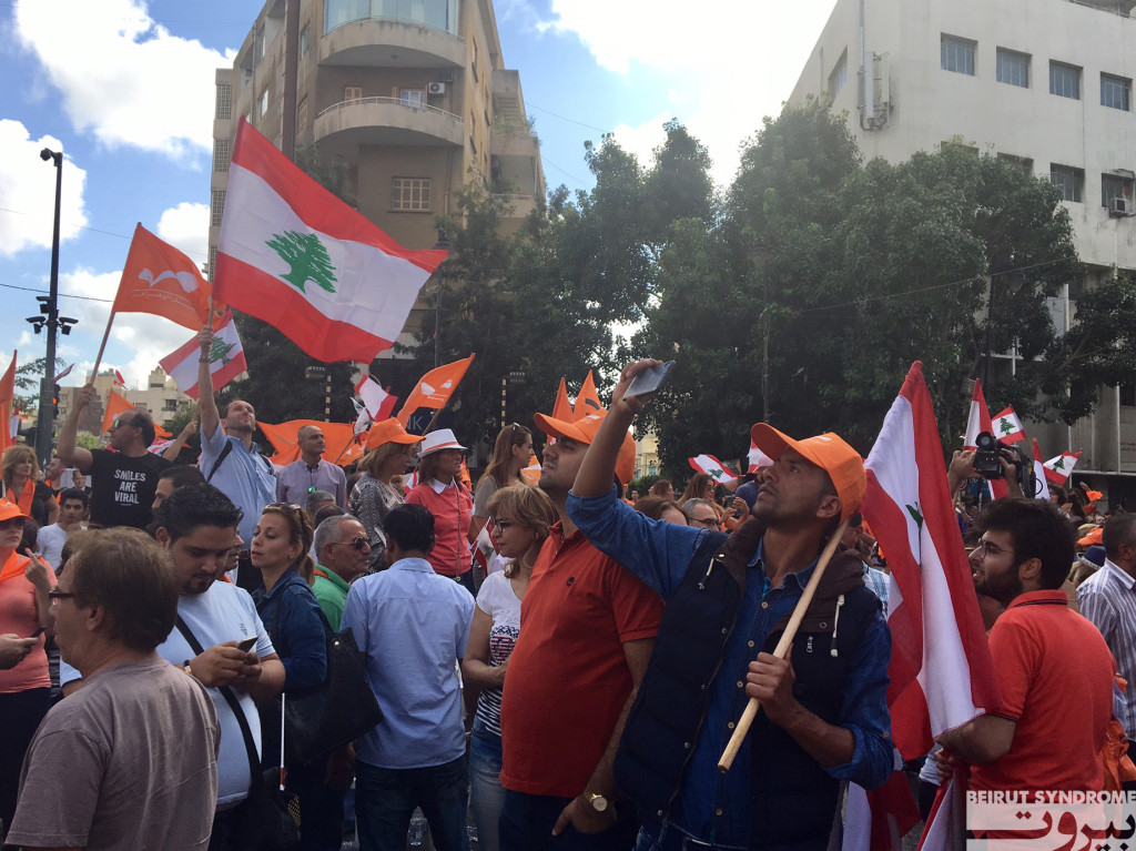 Michel Aoun supporters celebrate at Sassine Square in Beirut. (Photo by Kareem Chehayeb)