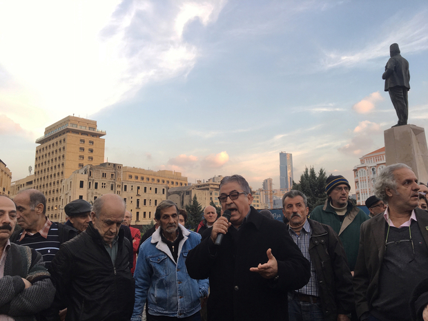 Antoine Karam speaks at Riad Solh Square in January (MEE/Kareem Chehayeb)