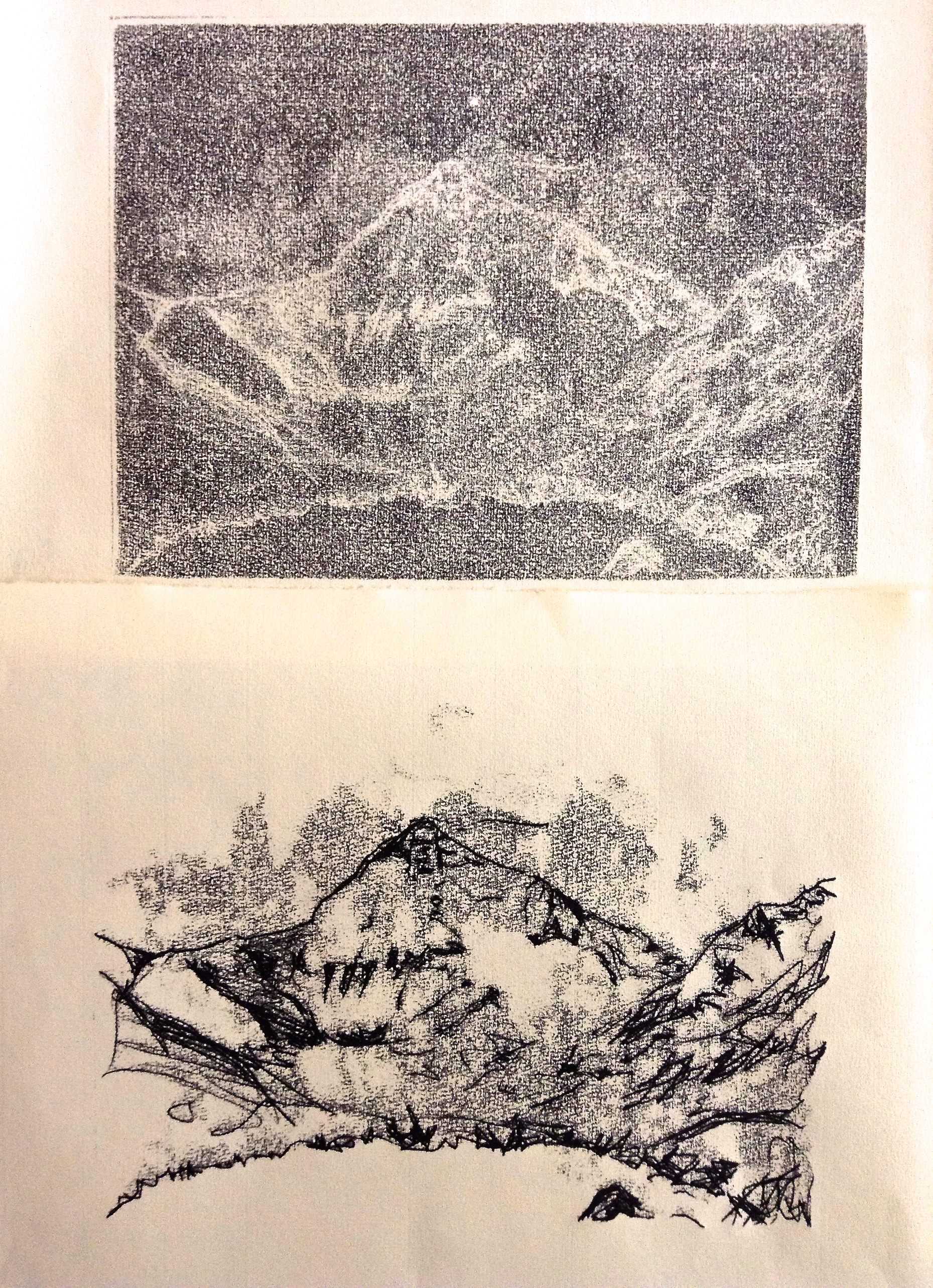 Everest: Monotype on Ho Sho Paper