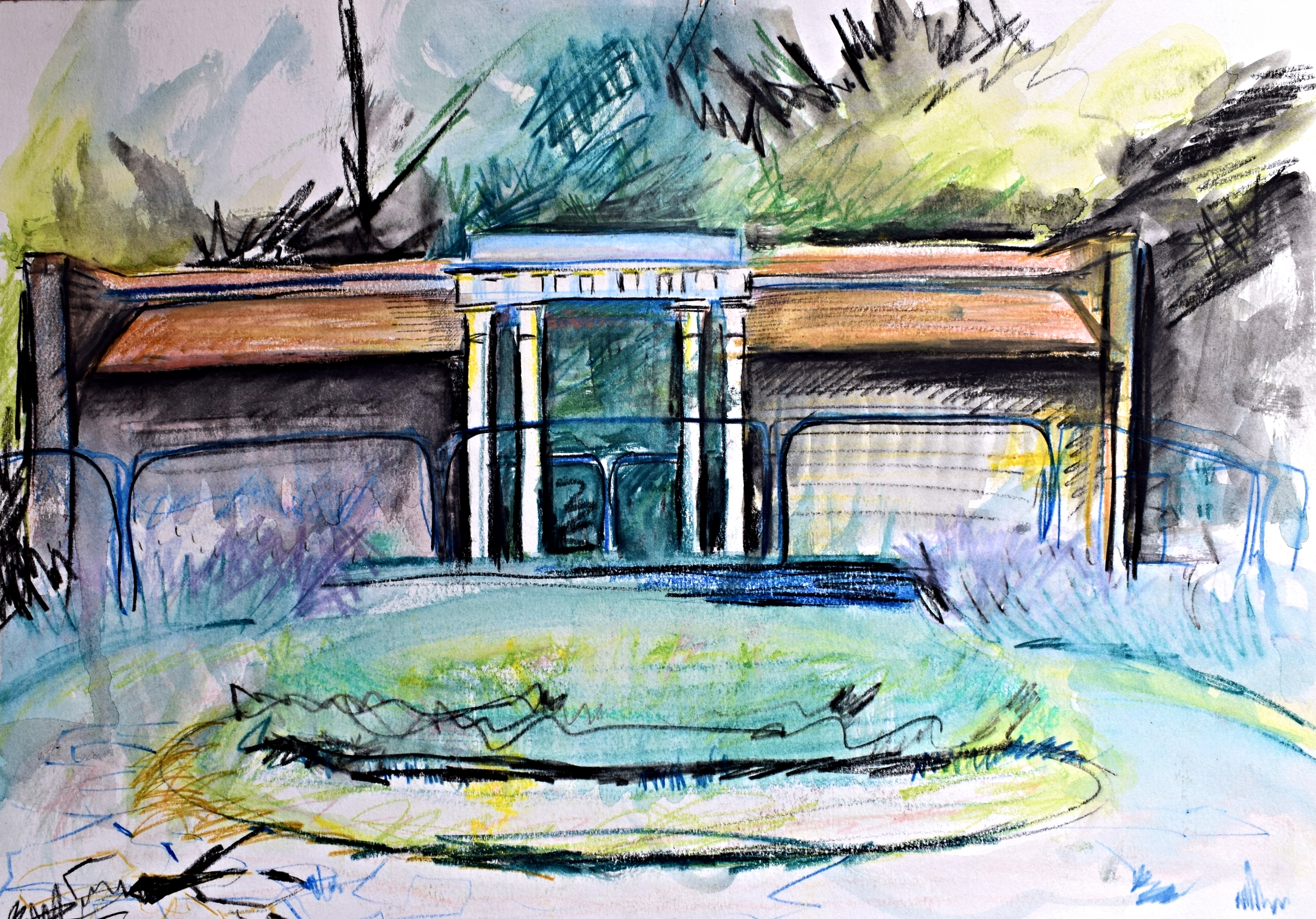 RUSKIN PARK: coloured pencil on paper