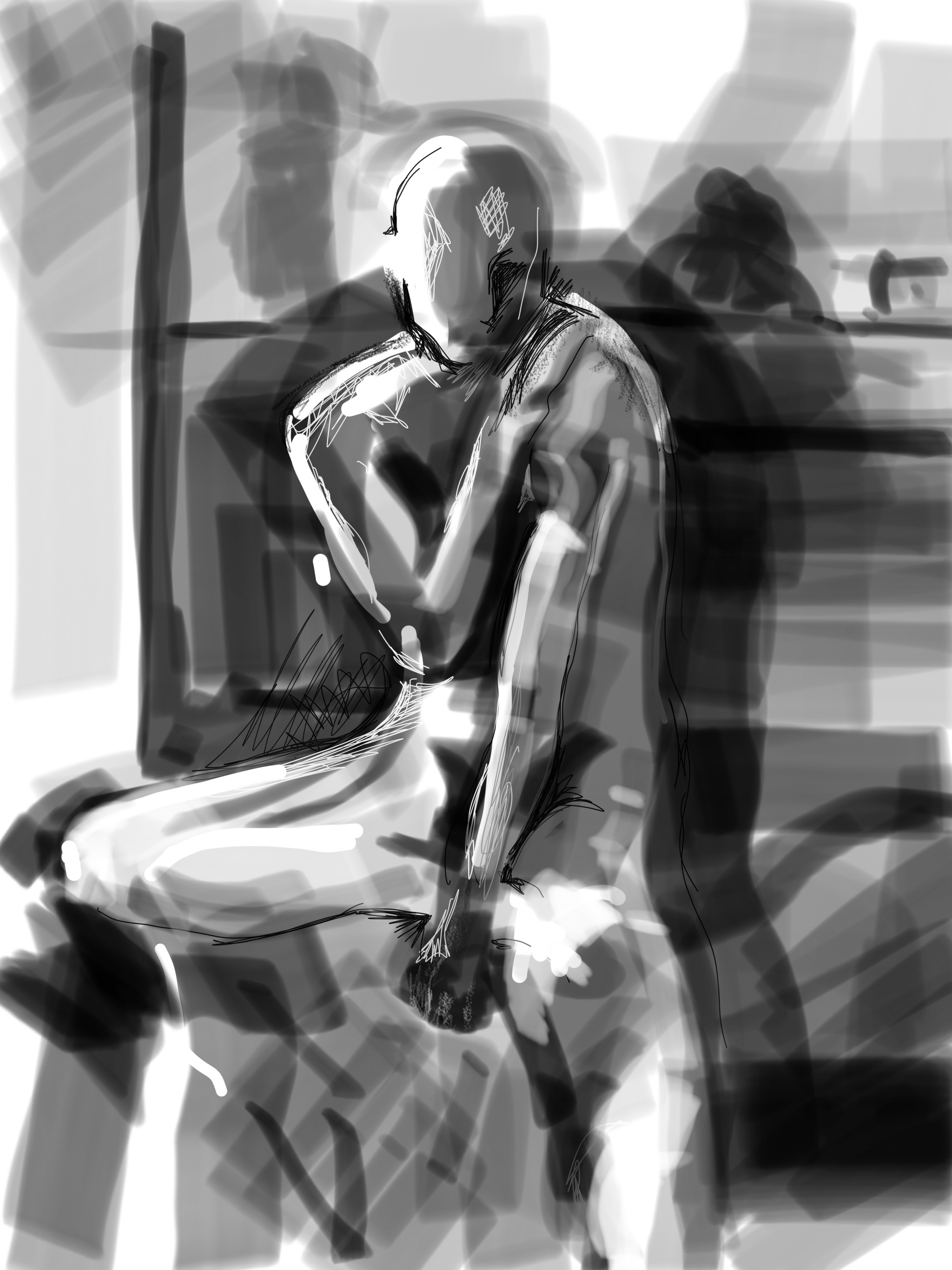 Seated Male: iPhone Notes sketch