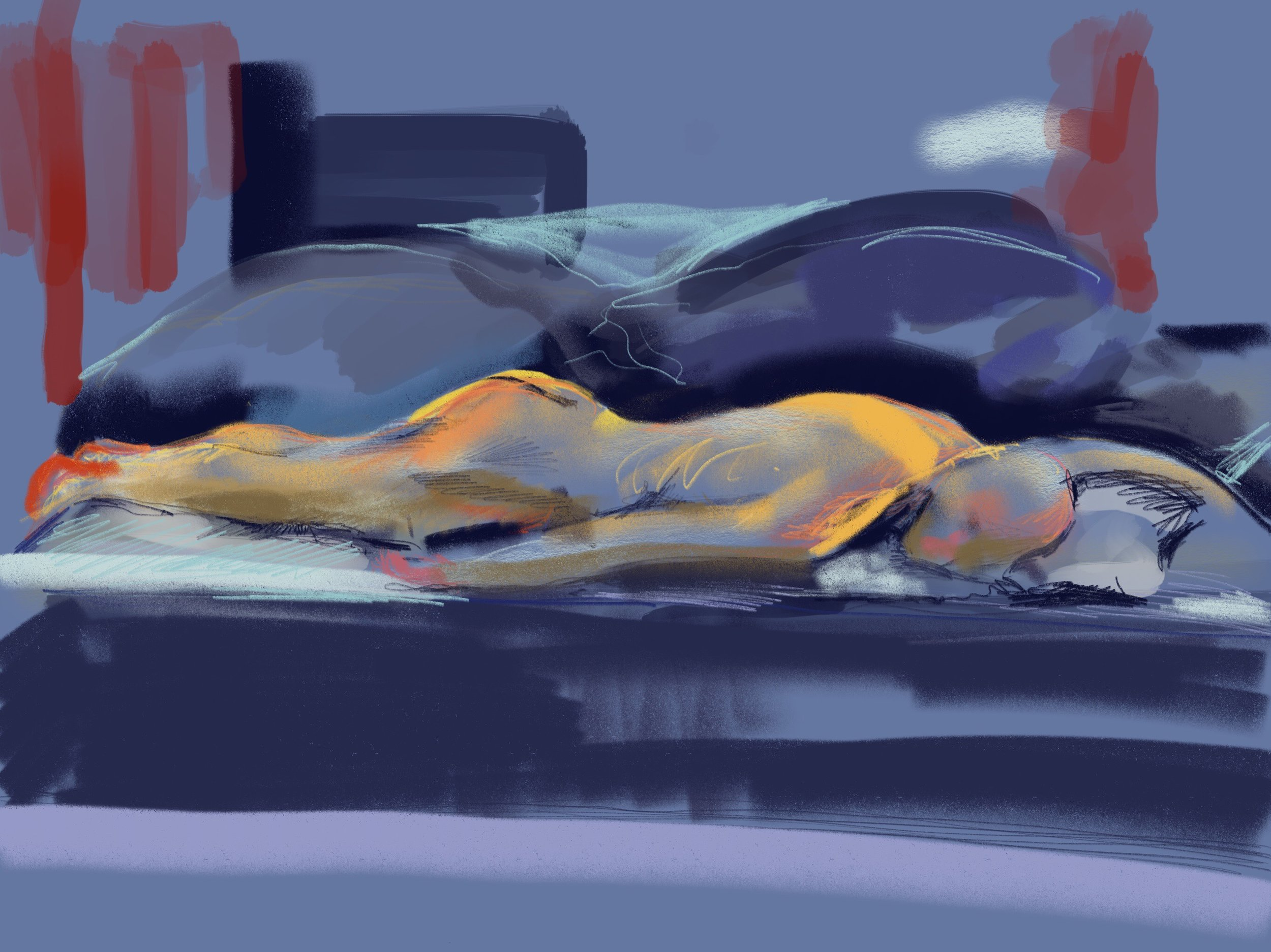 Sleeping Male: iPad digital drawing 2017