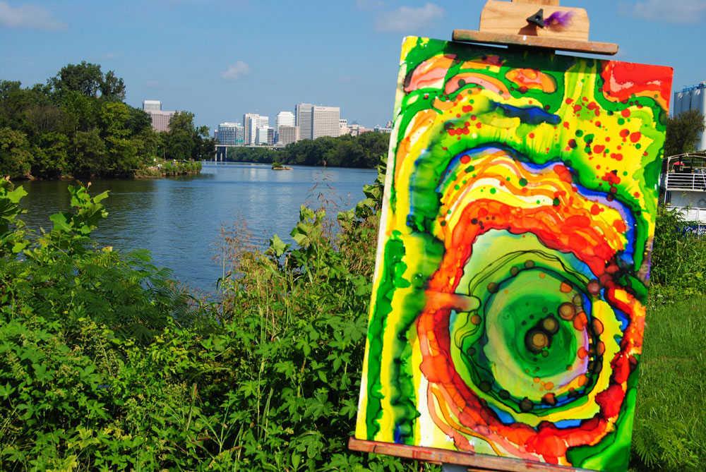 brian moss art easel overlooking james river