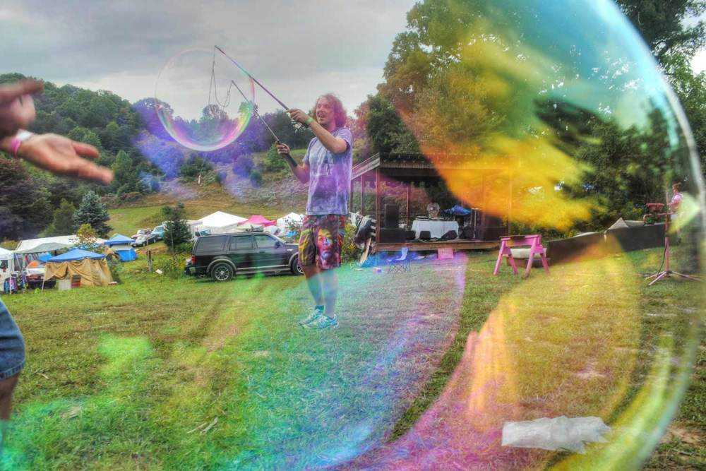 pink moon festival through bubbles