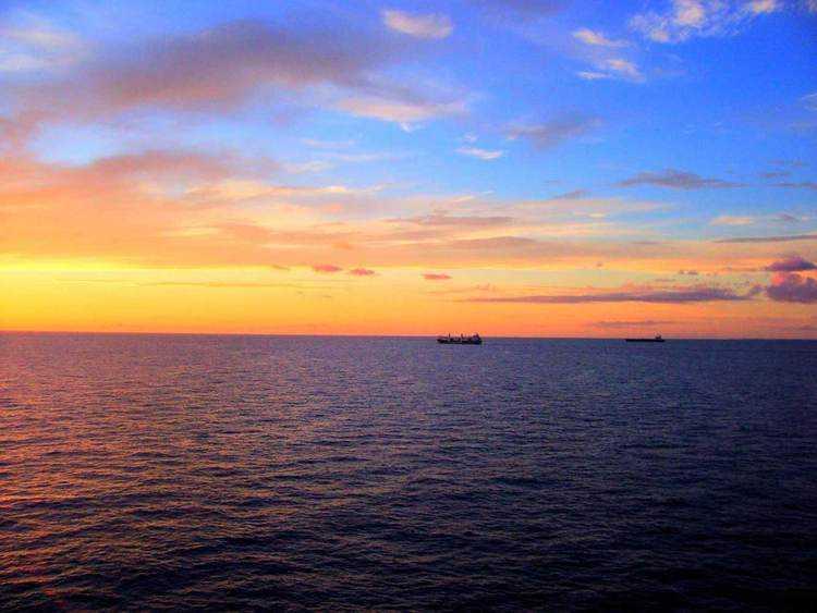 carribean sunset orange sky