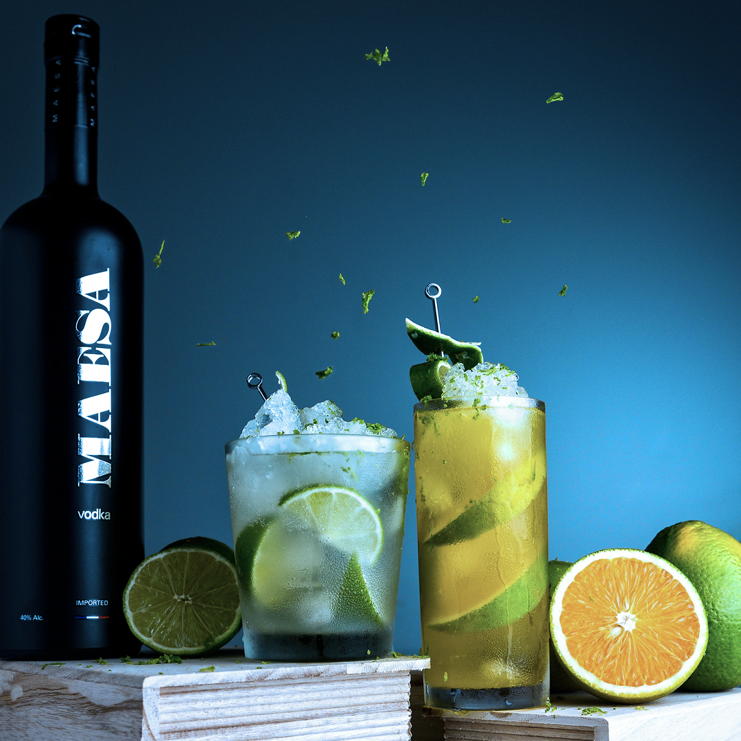 Endless summer - Fill a cocktail shaker with ice and add1 oz MAESA Vodka1/3 oz lemon liquor1/3 oz lime juiceFill with orange juiceShake and strain into tall glass filled with ice and orange wedgesTop with a splash of lemon-lime soda