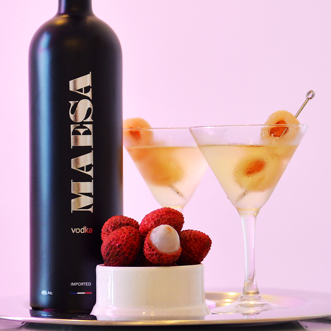 MAESA lychee - Add the following to a chilled martini glass1 1/2 oz MAESA Vodka1/2 oz lychee liquorGarnish with 2 whole lychees