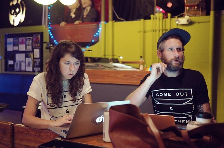 Final touches before Sylvan Esso's sold-out show at Kings.